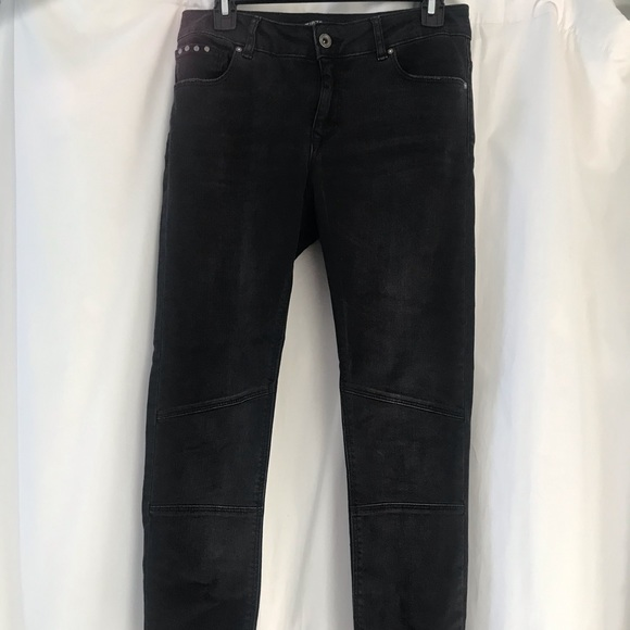 Zara Washed Black Skinny Moto Jeans Sz 6